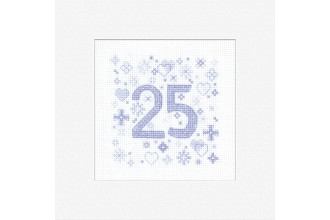 Heritage Crafts - Occasions Cards - 25th Anniversary (Cross Stitch Kit)