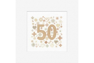 Heritage Crafts - Occasions Cards - 50th Anniversary (Cross Stitch Kit)