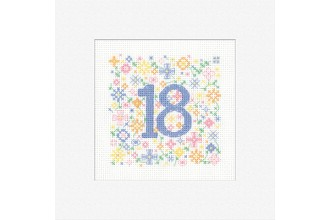 Heritage Crafts - Occasions Cards - 18th Birthday (Cross Stitch Kit)