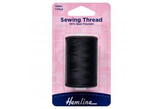 Hemline Polyester Thread - 1000m - Black