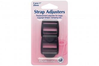Adjustable Strap Buckles, 25mm, Black (pack of 2)