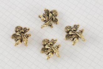 Cherub With Trumpet Buttons, Gold, 27mm (pack of 4)