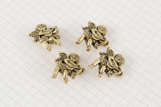 Cherub With Lute Buttons, Gold, 27mm (pack of 4)