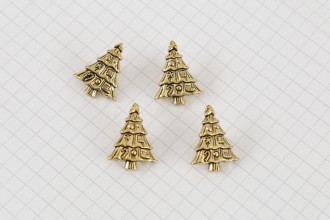 Christmas Tree Buttons, Gold, 21mm (pack of 4)
