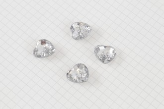 Crystal Heart Buttons, Clear, 16mm (pack of 4)