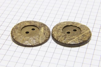 Round Coconut Shell Buttons, Natural Brown, 28mm (pack of 2)
