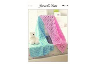James C Brett 173 Baby Blankets in Flutterby Chunky (leaflet)