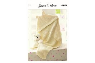James C Brett 174 Hooded Blanket in Flutterby Chunky (leaflet)