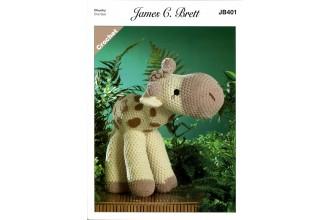 James C Brett 401 Sunshine the Giraffe Toy in Flutterby Chunky (leaflet)