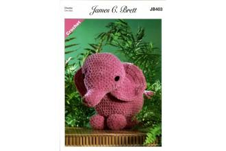 James C Brett 403 Ellie the Elephant Toy in Flutterby Chunky (leaflet)
