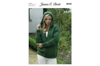 James C Brett 425 Hooded  Cardigan in Marble Chunky Glamour  (leaflet)