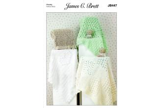 James C Brett 447 Blankets in Flutterby Chunky (leaflet)