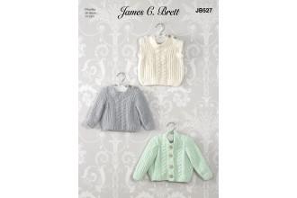 James C Brett 527 Sweater, Cardigan and Slipover in Flutterby Chunky (leaflet)