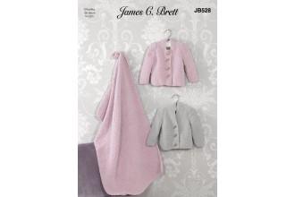 James C Brett 528 Cardigans and Blanket in Flutterby Chunky (leaflet)