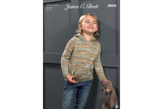 James C Brett 608 Hooded Sweater in Stonewash DK (leaflet)