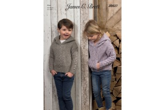 James C Brett 627 Hooded Sweater in Rustic with Wool Aran (leaflet)