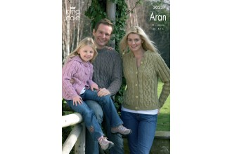 King Cole 3023 - Family Sweater, Cardigan and Hooded Jacket in Merino Blend Aran (downloadable PDF)