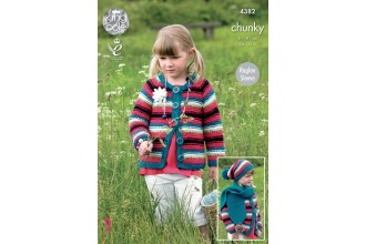 King Cole 4382 Dress, Cardigan, Hat and Scarf in Big Value Chunky (leaflet)