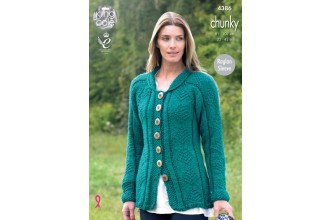 King Cole 4386 Ladies Coat and Cardigan in Big Value Chunky (leaflet)