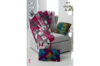 King Cole 4413 Throw and Cushions in Riot DK and Riot Chunky  (leaflet)