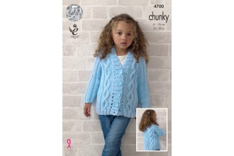 King Cole 4700 Girls Cardigan and Waistcoat in Big Value Chunky (leaflet)