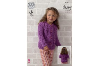 King Cole 4701 Girls Top and Cardigan in Big Value Chunky (leaflet)