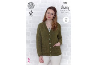 King Cole 4703 Sweater and Cardigan in Big Value Chunky (leaflet)