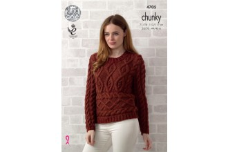 King Cole 4705 Ladies Sweater and Sleeveless Top in Big Value Chunky (leaflet)