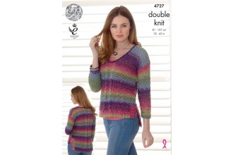 King Cole 4727 Sweater and Cardigan in Shine DK (leaflet)