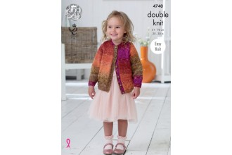 King Cole 4740 Girls Top and Cardigan in Shine DK (leaflet)