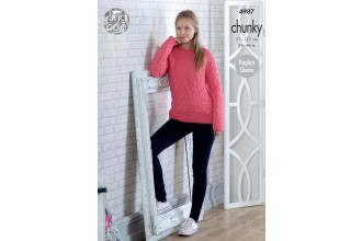 King Cole 4987 Sweater and Cardigan in Big Value Chunky (leaflet)