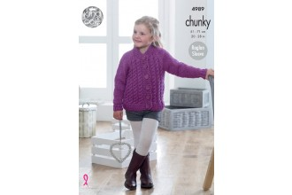 King Cole 4989 Sweater and Cardigan in Big Value Chunky (leaflet)