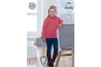 King Cole 4990 Sweater and Cardigan in Big Value Chunky (leaflet)