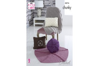 King Cole 5074 Crochet Cushions and Throws in Big Value Chunky (leaflet)