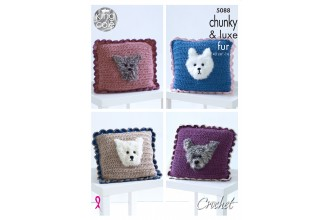 King Cole 5088 Crochet Cushions with Dog Motif in Big Value Chunky and Luxe Fur (leaflet)