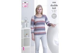 King Cole 5250 Cardigan and Top in Shine DK (leaflet)