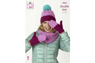 King Cole 5264 Snood, Mitts and Hats in Big Value DK 50g (leaflet)