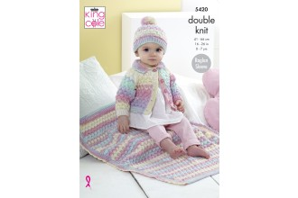 King Cole 5420 Cardigan, Hat and Blanket in Beaches DK (leaflet)
