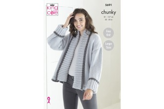 King Cole 5691 Ladies Cardigans in Ultra Soft Chunky (leaflet)
