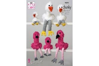 King Cole 9091 Stork & Flamingo Families in Big Value Super Chunky, Tufty Super Chunky and Big Value CHunky (leaflet)