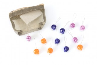 KnitPro Zooni Bead Stitch Markers - Skull Candy (Set of 12)