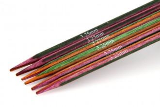 KnitPro Double Point Knitting Needles - Symfonie Wood - 15cm (3.25mm)