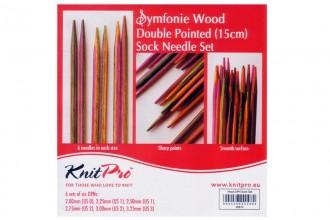 KnitPro Double Point Knitting Needles - Symfonie Wood - 15cm Socks Kit
