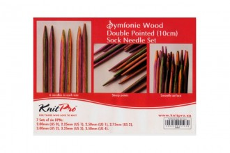 KnitPro Double Point Knitting Needles - Symfonie Wood - 10cm Socks Kit