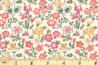 Liberty Fabrics - The Cottage Garden - Lawn Games - Coral Multi (04775615/X)