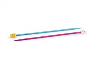 Pony Children's Single Point Knitting Needles - Coloured Aluminium - 18cm