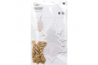 Rico - Embroidery Board - Christmas Trees, White, Pack of 8 with Metallic Yarn