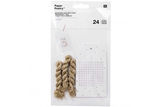 Rico - Embroidery Tags, White/Gold, Pack of 24 with Metallic Yarn