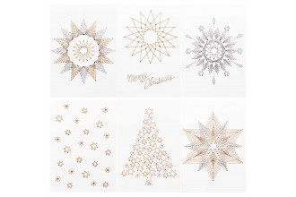 Rico - Christmas Postcards to Stitch, Pack of 6 with Metallic Yarn