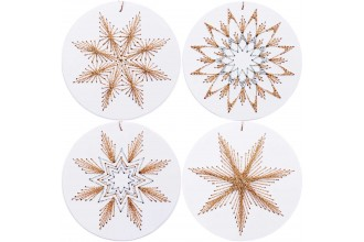 Rico - Christmas Bauble Tags, White, Pack of 8 (Embroidery Kit)